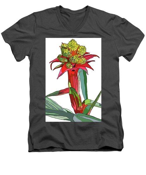 Tropical Reds Men's V-Neck T-Shirt by Jamie Downs