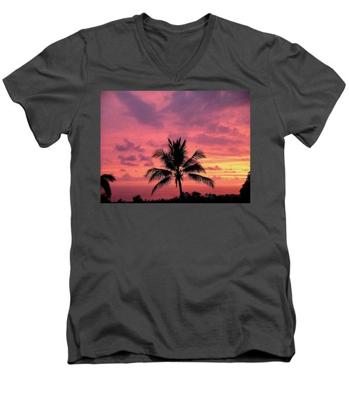 Men's V-Neck T-Shirt featuring the photograph Tropical Sunset by Karen Nicholson