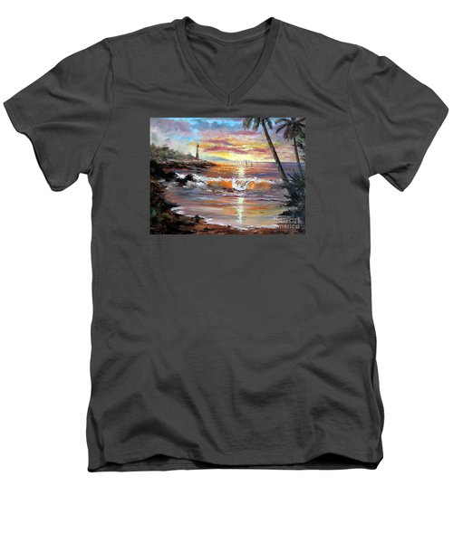 Tropical Sunset Men's V-Neck T-Shirt by Lee Piper