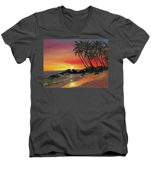 Men's V-Neck T-Shirt featuring the painting Tropical Sunset by Roseann Gilmore