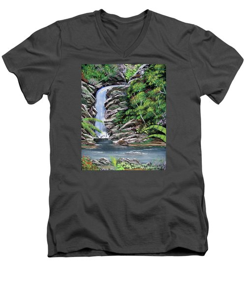 Tropical Waterfall 2 Men's V-Neck T-Shirt by Luis F Rodriguez