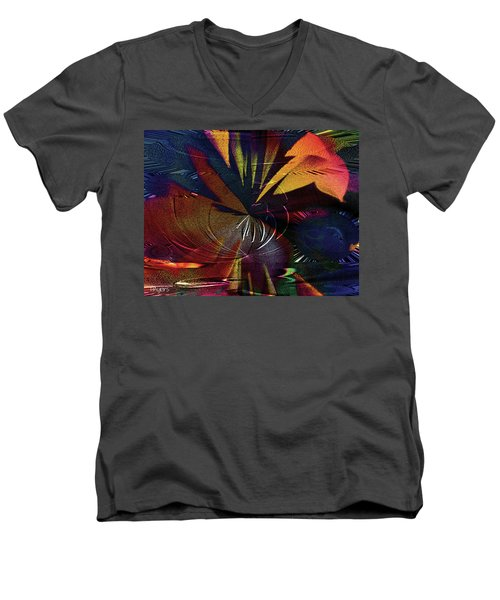 Men's V-Neck T-Shirt featuring the digital art Tropicale by Paula Ayers