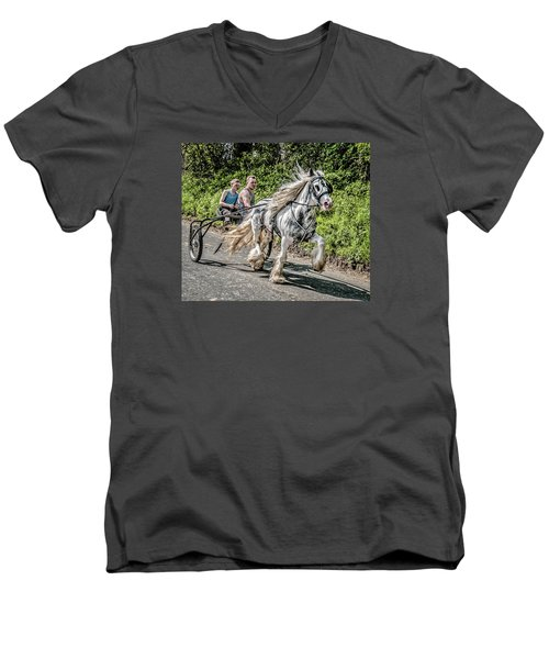 Men's V-Neck T-Shirt featuring the photograph Trotting At Appleby Horse Fair by Brian Tarr