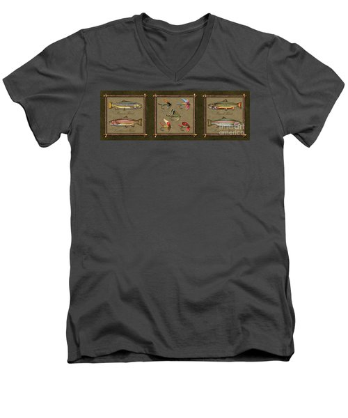 Men's V-Neck T-Shirt featuring the painting Trout Fly Panel by Jon Q Wright