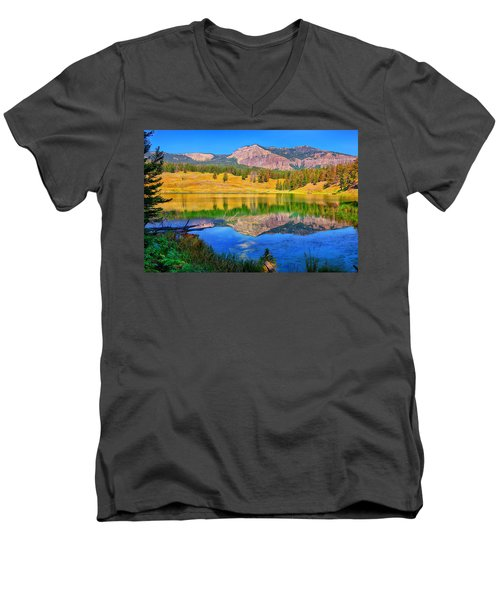 Trout Lake Men's V-Neck T-Shirt by Greg Norrell