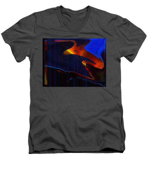 Men's V-Neck T-Shirt featuring the digital art True Companion by Yul Olaivar