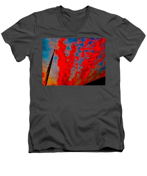 Trump Red Sunset Meets American Flag Men's V-Neck T-Shirt