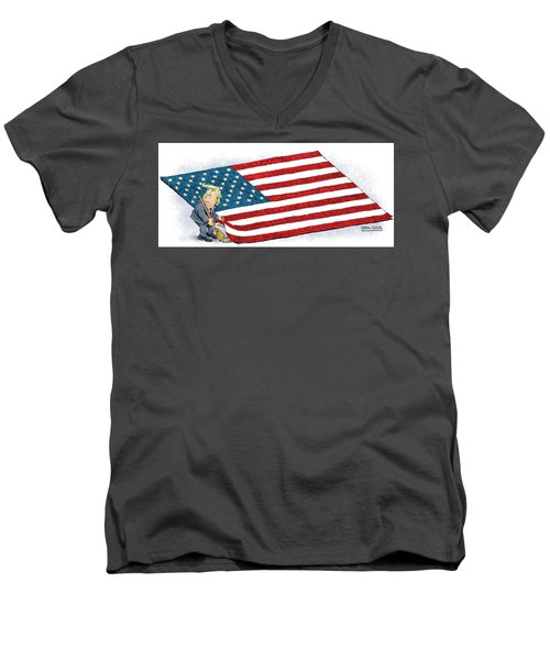 Men's V-Neck T-Shirt featuring the drawing Trump Sweeps Under The Flag Rug by Daryl Cagle