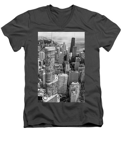 Men's V-Neck T-Shirt featuring the photograph Trump Tower And John Hancock Aerial Black And White by Adam Romanowicz