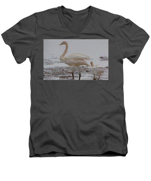 Men's V-Neck T-Shirt featuring the photograph Trumpeter Swan Reflection by Karen Molenaar Terrell