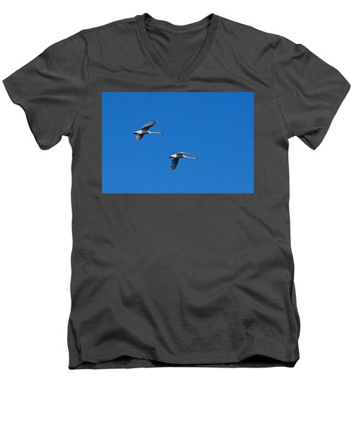 Trumpeter Swans 1726 Men's V-Neck T-Shirt by Michael Peychich