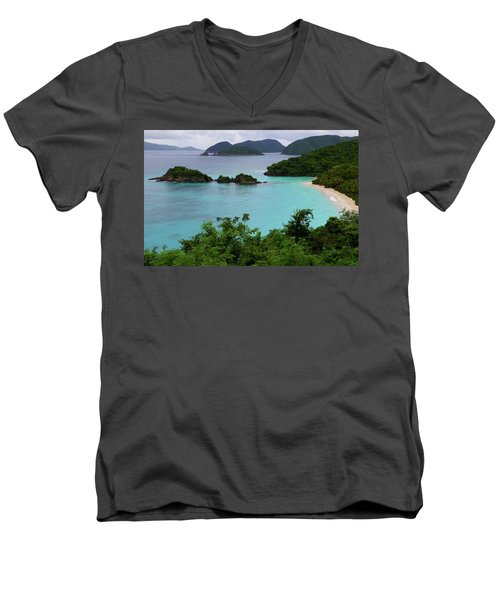 Trunk Bay At U.s. Virgin Islands National Park Men's V-Neck T-Shirt by Jetson Nguyen