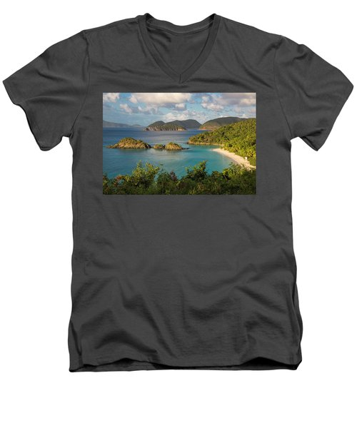 Men's V-Neck T-Shirt featuring the photograph Trunk Bay Morning by Adam Romanowicz