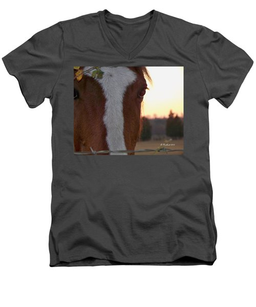 Men's V-Neck T-Shirt featuring the photograph Trusting by Betty Northcutt