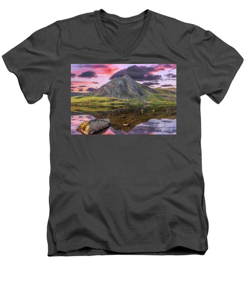 Men's V-Neck T-Shirt featuring the photograph Tryfan Mountain Sunset by Adrian Evans