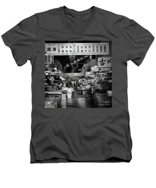 Tsukiji Shijo, Tokyo Fish Market, Japan Men's V-Neck T-Shirt