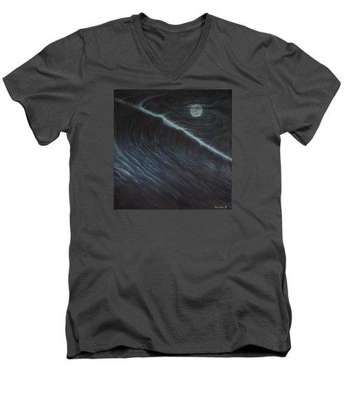 Tsunami Men's V-Neck T-Shirt by Angel Ortiz