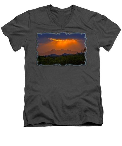 Tucson Mountains Sunset H29 Men's V-Neck T-Shirt by Mark Myhaver