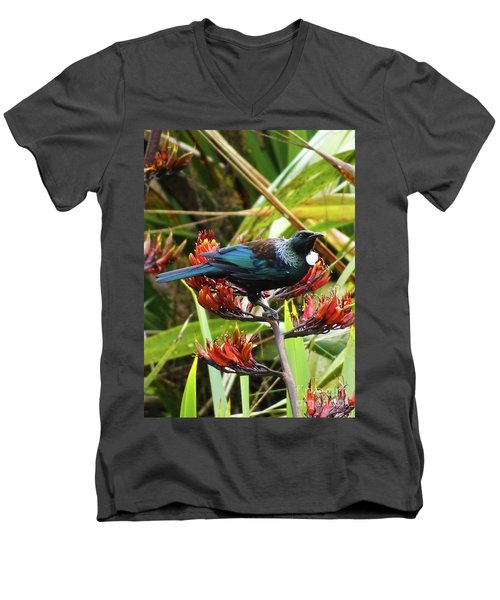 Tui In Flax Men's V-Neck T-Shirt by Angela DeFrias