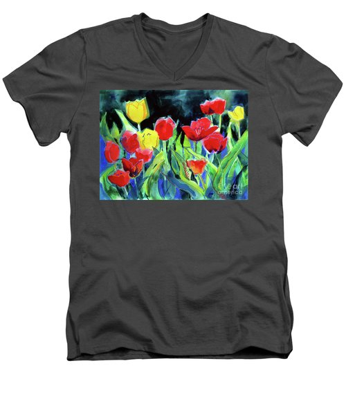 Men's V-Neck T-Shirt featuring the painting Tulip Bed At Dark by Kathy Braud