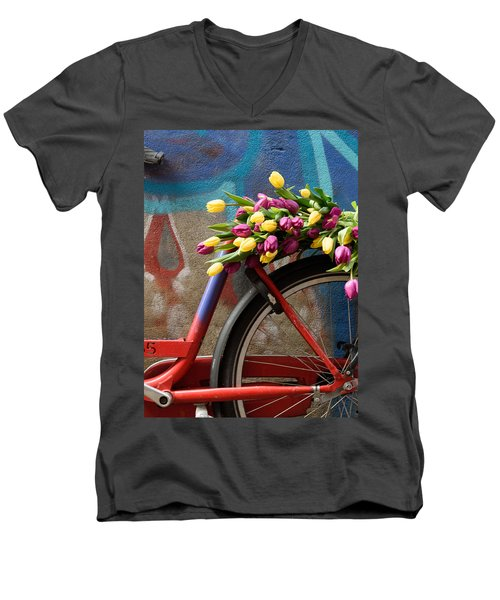 Men's V-Neck T-Shirt featuring the photograph Tulip Bike by Phyllis Peterson