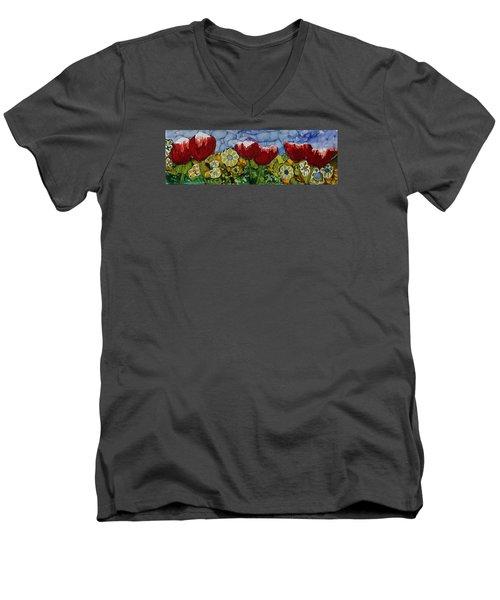 Tulip Bonanza Men's V-Neck T-Shirt by Suzanne Canner