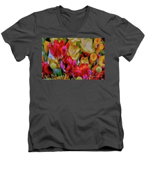 Tulip Bouquet Men's V-Neck T-Shirt by Sandy Moulder