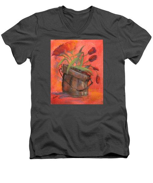 Tulip Bucket Men's V-Neck T-Shirt by Terri Einer