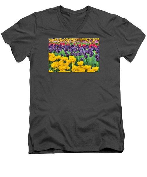 Tulip Colors Men's V-Neck T-Shirt by Nadia Sanowar