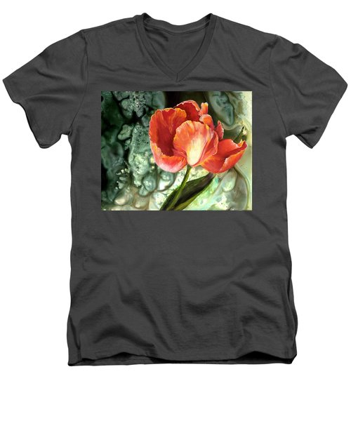 Men's V-Neck T-Shirt featuring the painting Tulip Dance by Sherry Shipley
