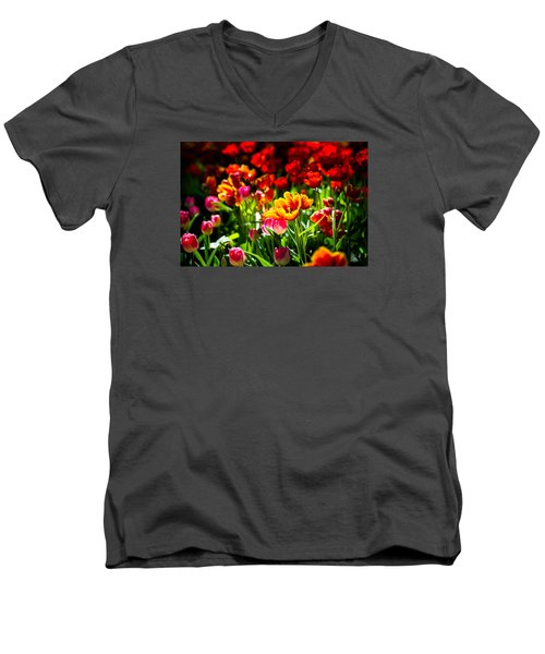 Men's V-Neck T-Shirt featuring the photograph Tulip Flower Beauty by Alexander Senin