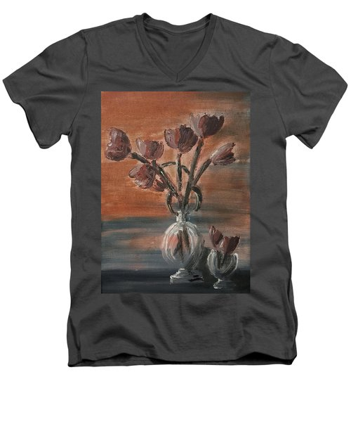 Tulip Flowers Bouquet In Two Round Water Filled Small Globe Shaped Vases On A Table Still Life Of Bo Men's V-Neck T-Shirt by MendyZ