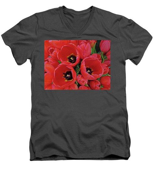Tulip Parade Men's V-Neck T-Shirt by Suzy Piatt