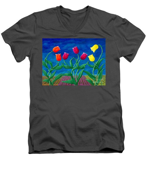 Men's V-Neck T-Shirt featuring the painting Tulip Tango by Rebecca Parker