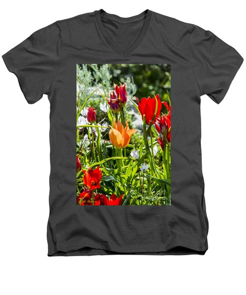 Men's V-Neck T-Shirt featuring the photograph Tulip - The Orange One by Arik Baltinester