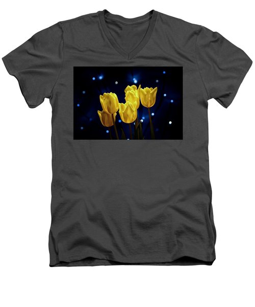 Men's V-Neck T-Shirt featuring the photograph Tulip Twinkle by Tom Mc Nemar