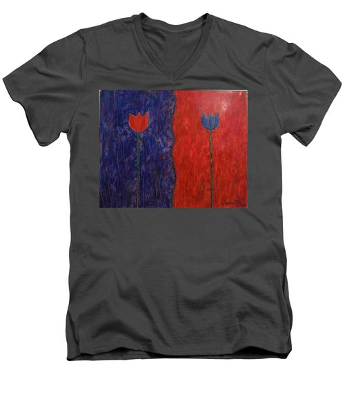 Men's V-Neck T-Shirt featuring the painting Tulip by Walter Casaravilla