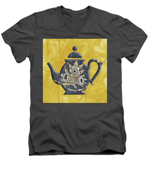 Tulips And Willow Pattern Teapot Men's V-Neck T-Shirt