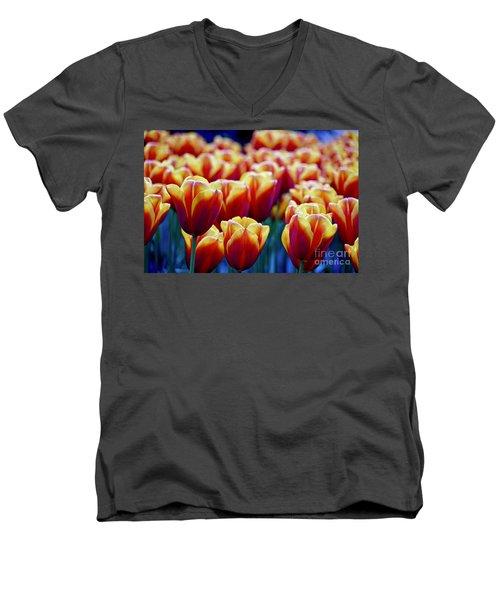 Tulips At Sunset Men's V-Neck T-Shirt by Michael Cinnamond