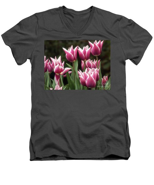 Tulips Bed  Men's V-Neck T-Shirt by Kim Tran