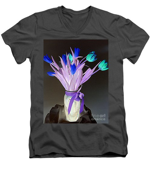 Men's V-Neck T-Shirt featuring the photograph Tulips Cancer 1 by Richard W Linford