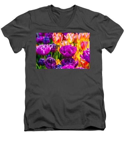 Men's V-Neck T-Shirt featuring the photograph Tulips Enchanting 42 by Alexander Senin