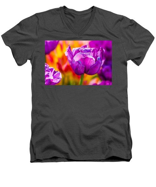 Men's V-Neck T-Shirt featuring the photograph Tulips Enchanting 43 by Alexander Senin