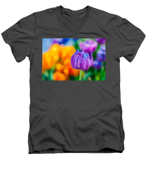 Men's V-Neck T-Shirt featuring the photograph Tulips Enchanting 46 by Alexander Senin