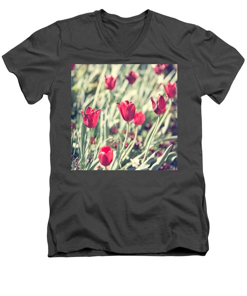 Men's V-Neck T-Shirt featuring the photograph Tulips In Red by Wade Brooks