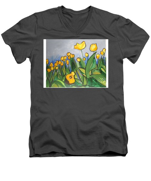 Men's V-Neck T-Shirt featuring the painting Tulips In Springtime by Esther Newman-Cohen