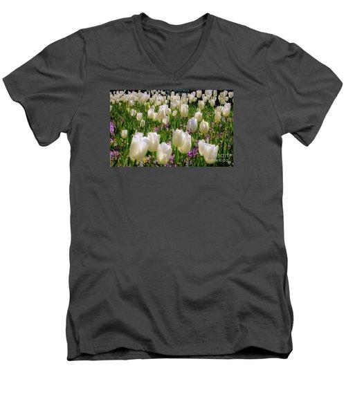 Tulips In White Men's V-Neck T-Shirt