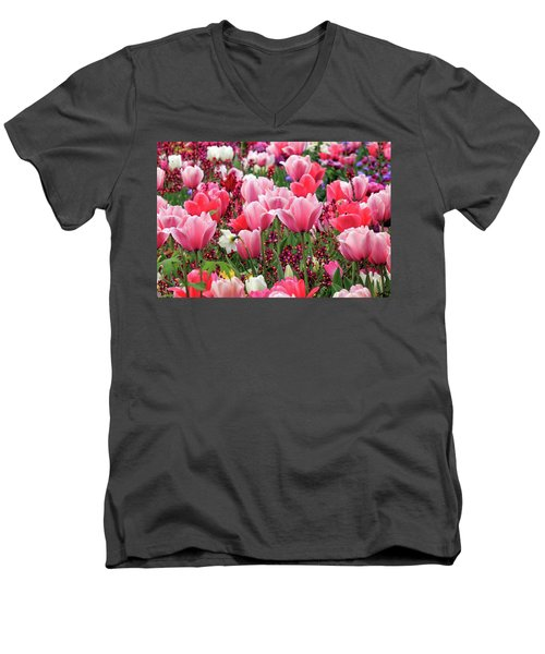 Men's V-Neck T-Shirt featuring the photograph Tulips by James Eddy