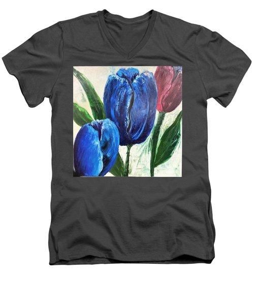 Tulips Large Oil Flowers Men's V-Neck T-Shirt