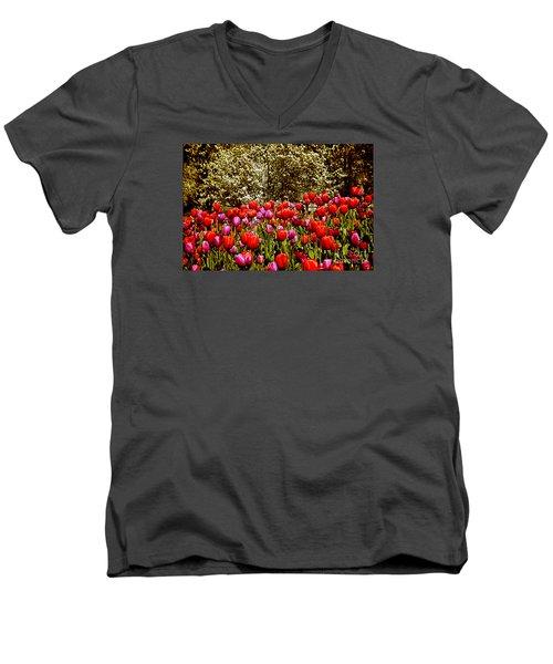 Tulips Men's V-Neck T-Shirt by Milena Ilieva